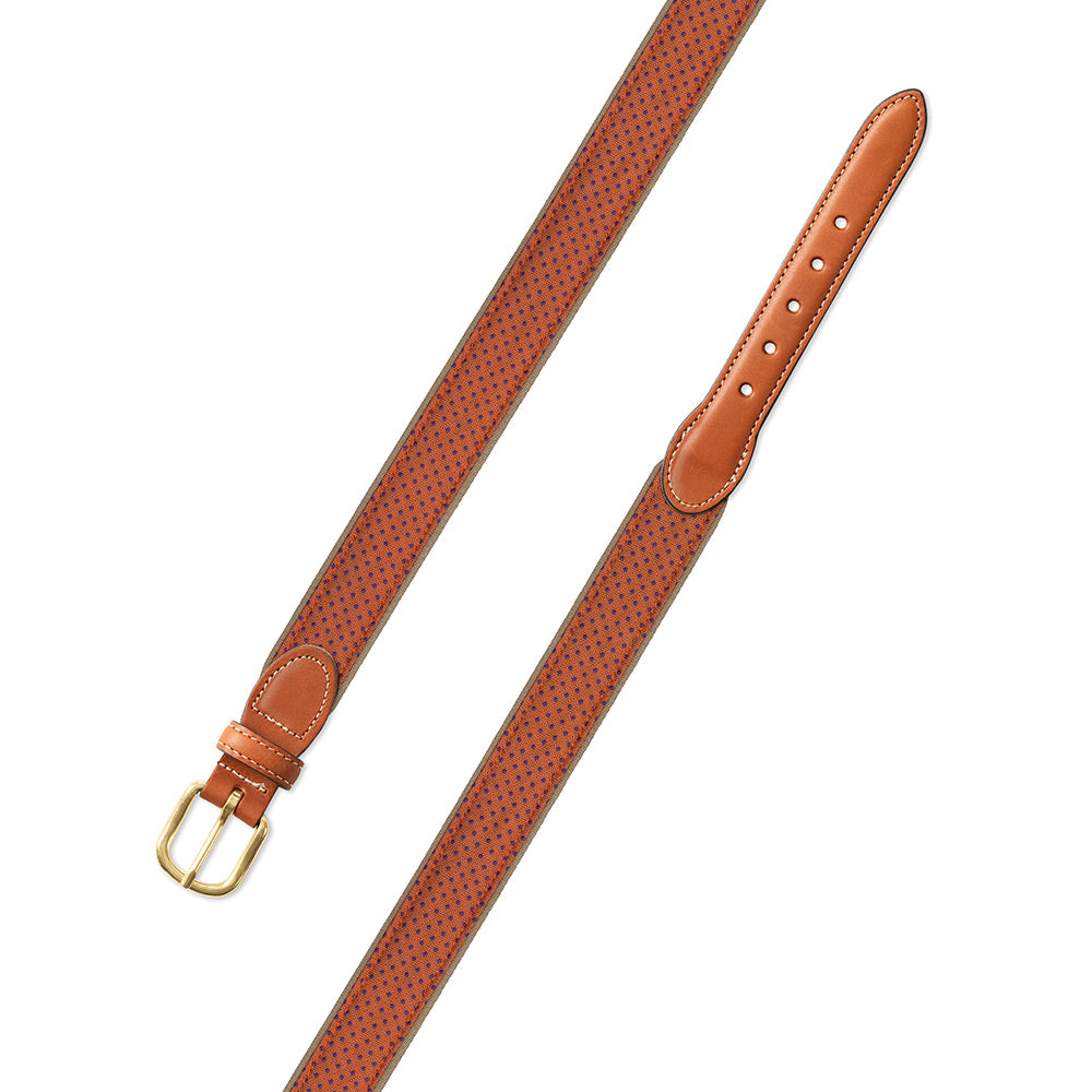 Small Squares in Orange Silk Leather Tab Belt