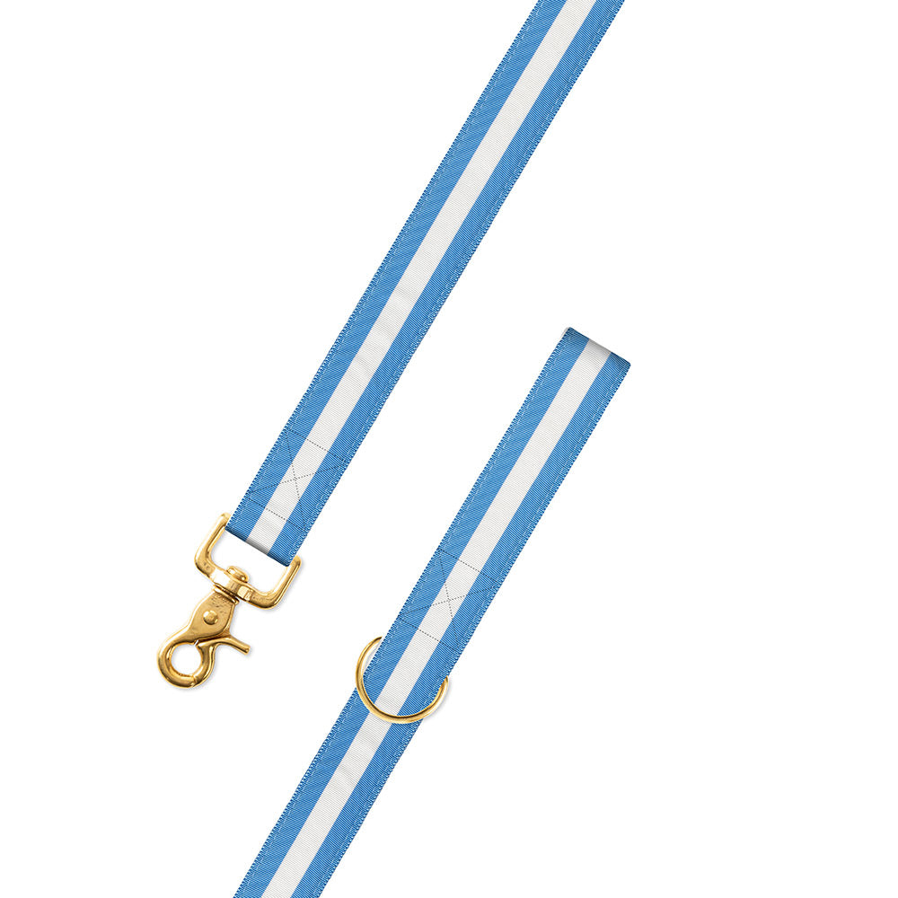 Carolina Blue & White Grosgrain Ribbon Dog Leash