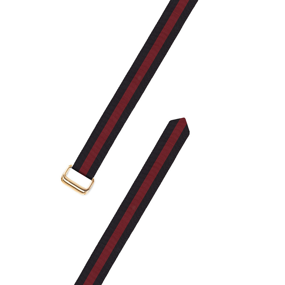 Black & Maroon Grosgrain Ribbon D-Ring Belt