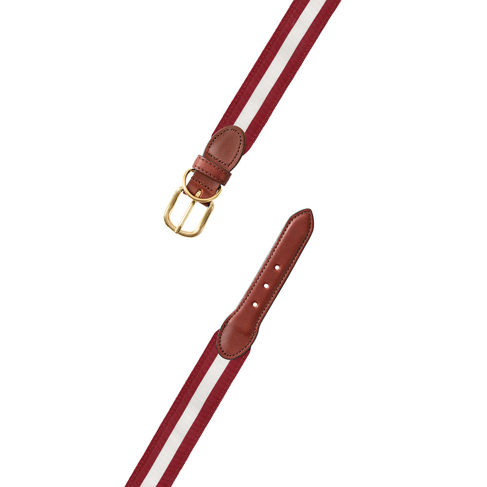 Crimson & White Grosgrain Ribbon Dog Collar