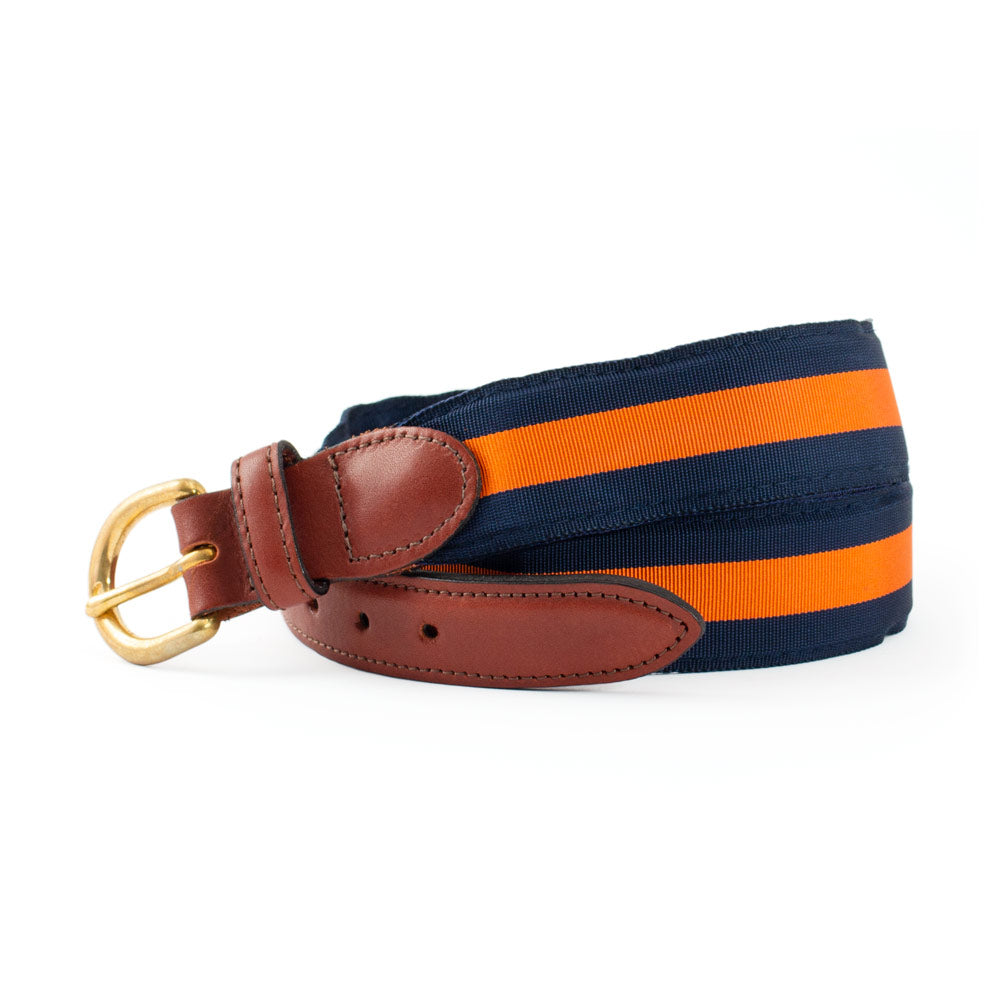 Navy & Orange Grosgrain Ribbon Children's Belt