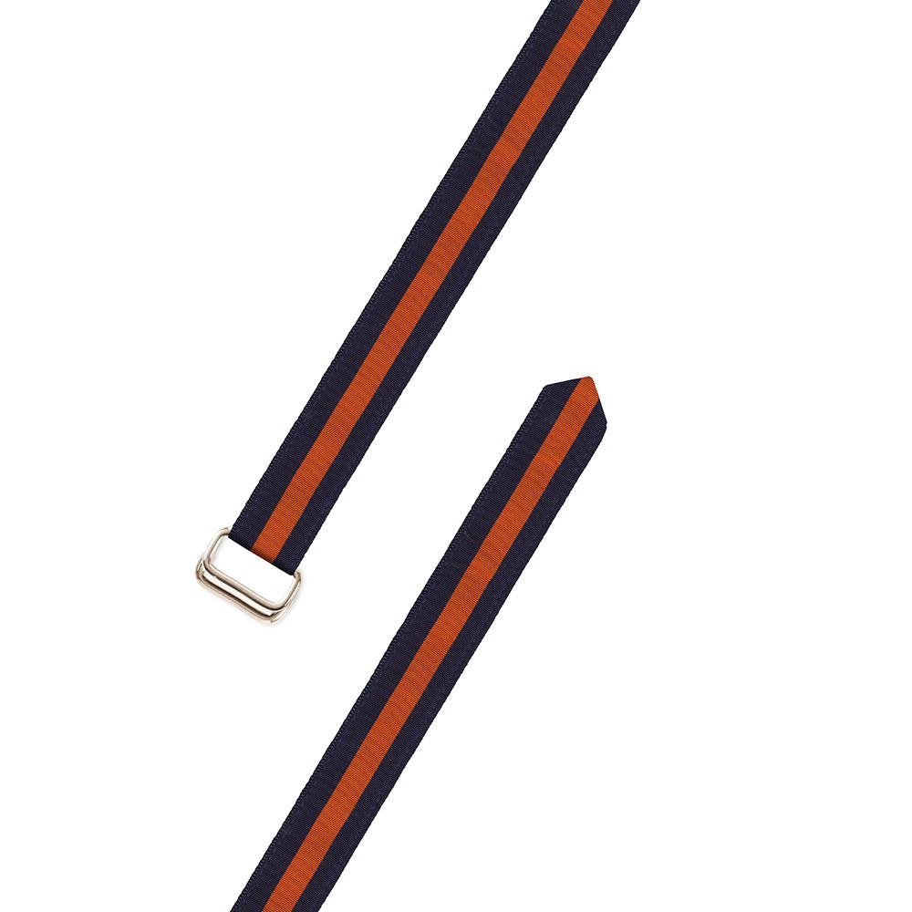 Navy & Orange Grosgrain Ribbon D-Ring Belt