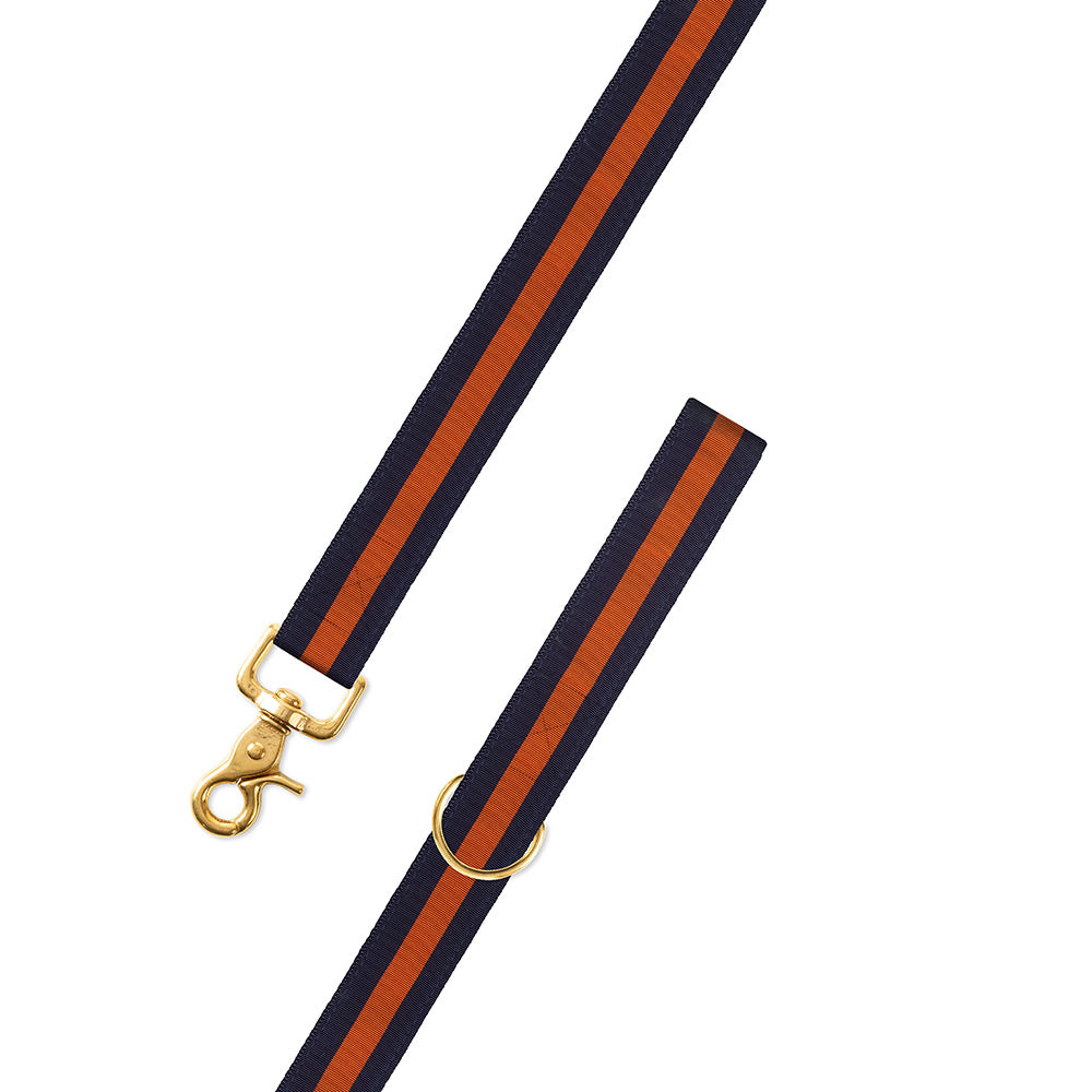Navy & Orange Grosgrain Ribbon Dog Leash