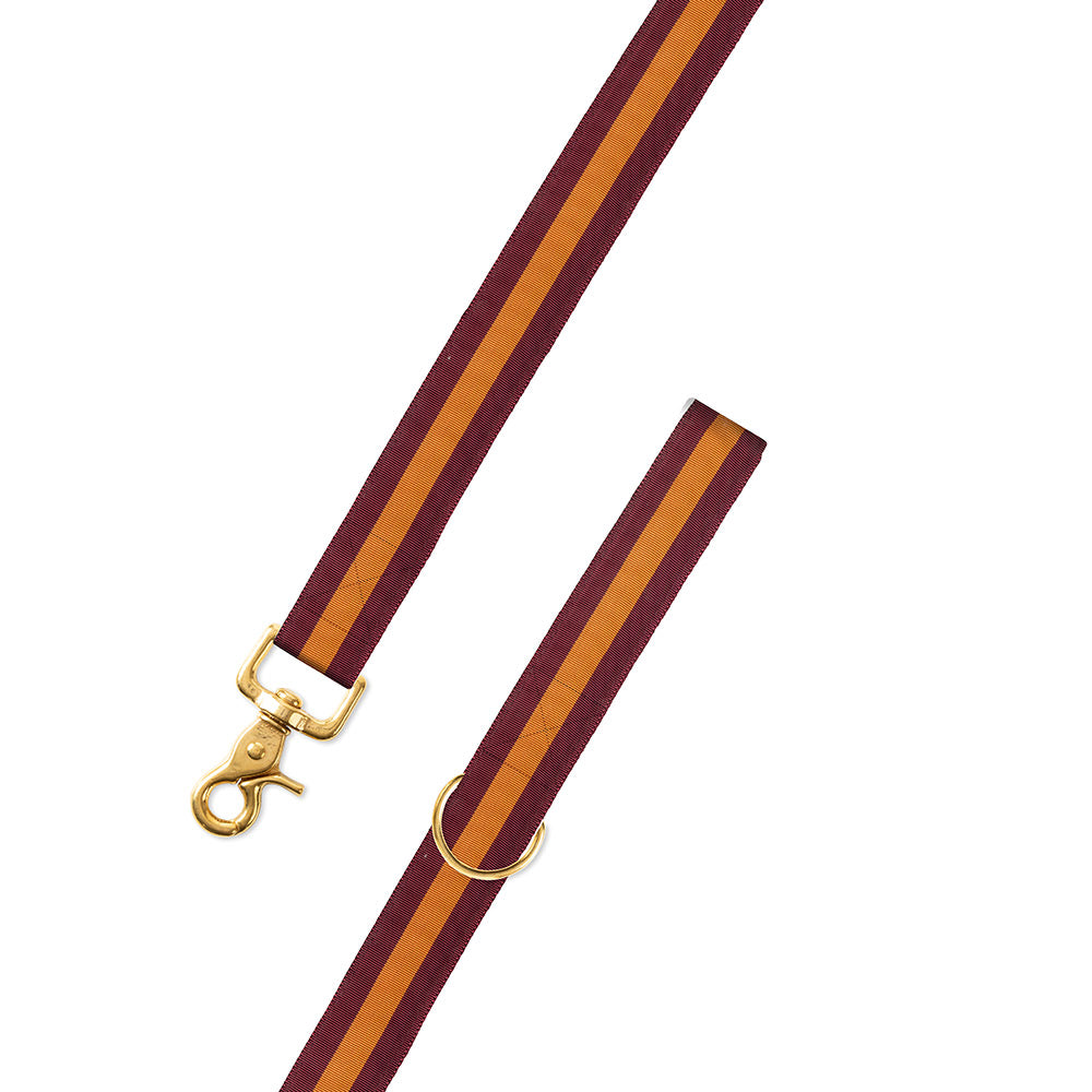 Maroon & Orange Grosgrain Ribbon Dog Leash