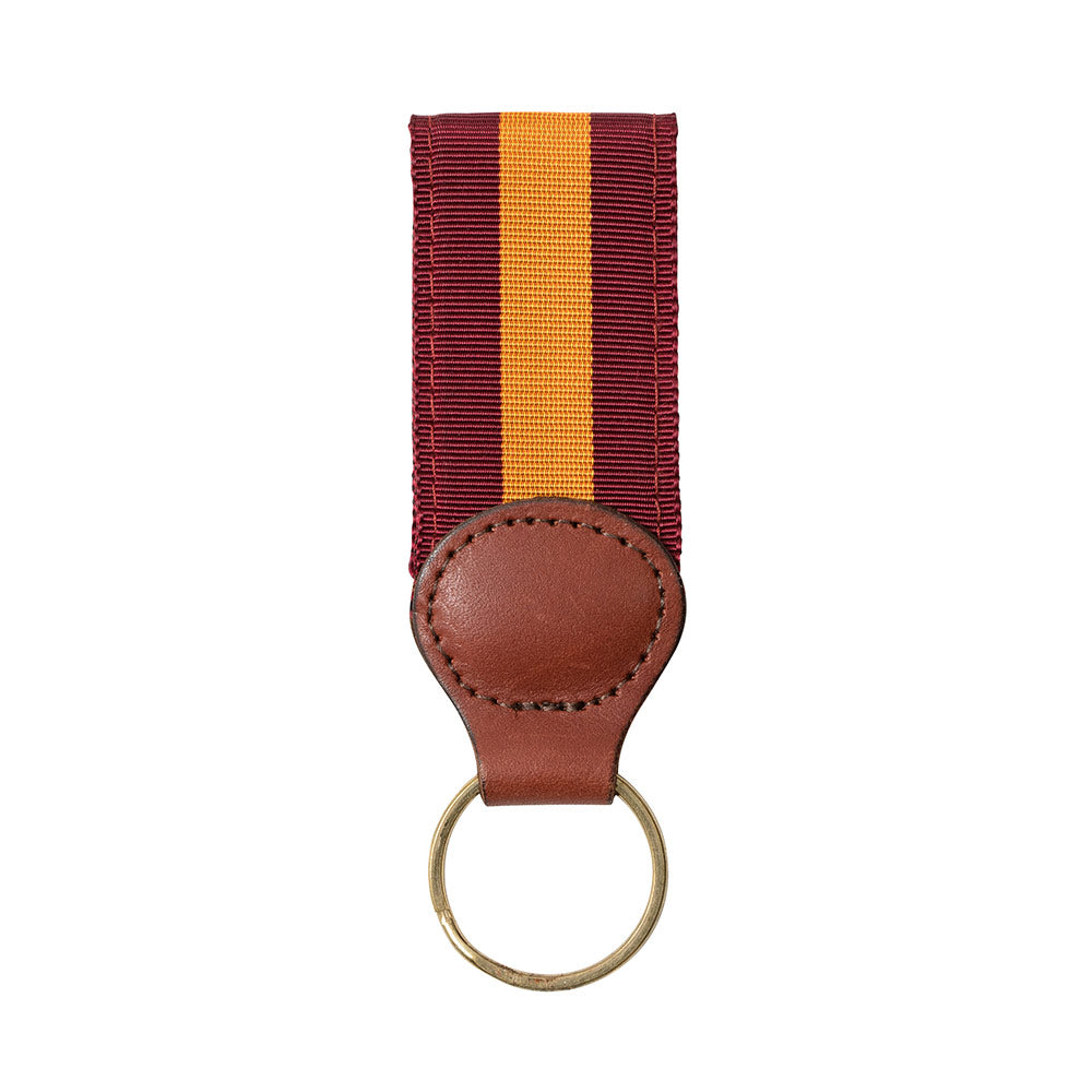 Maroon & Orange Grosgrain Ribbon Key Fob