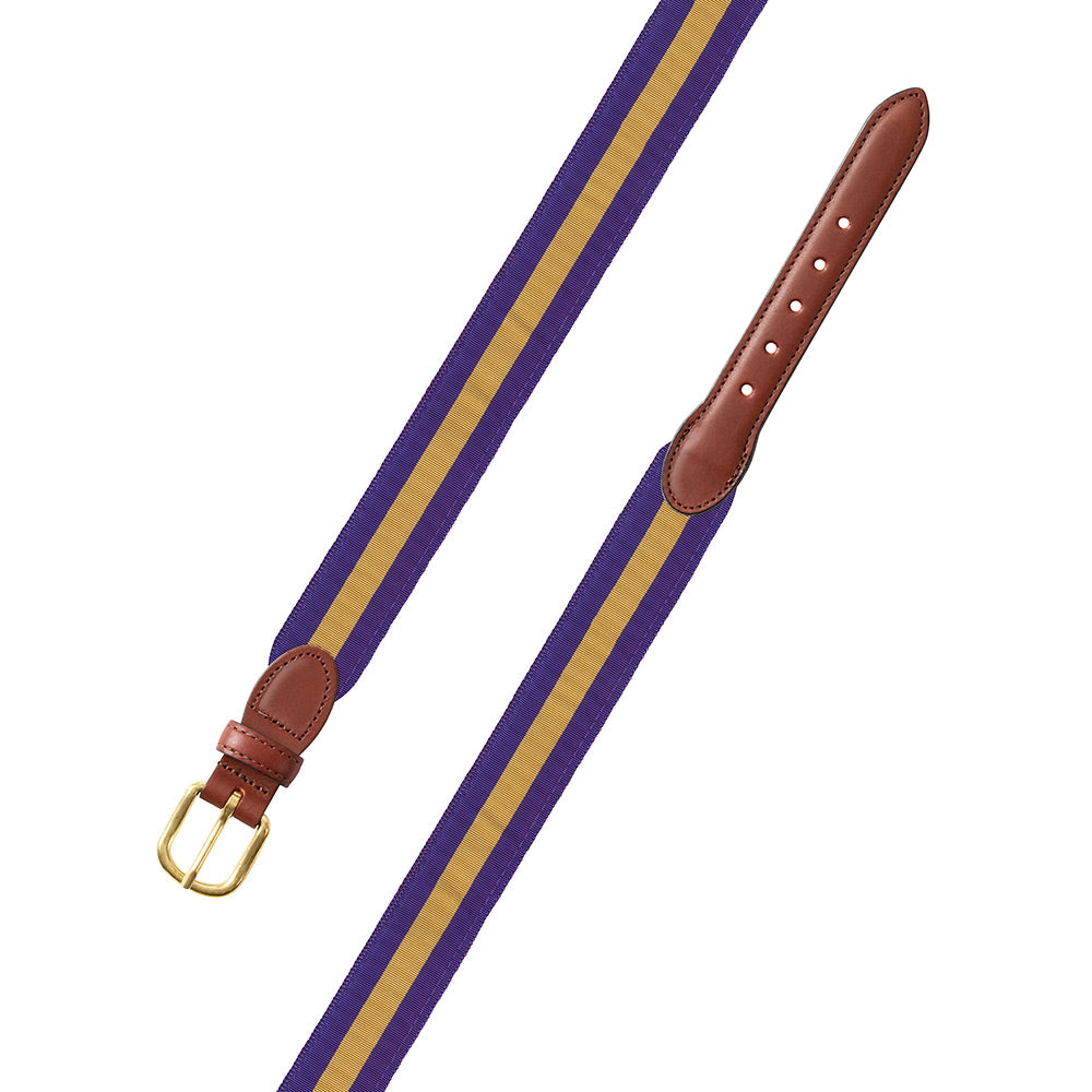 Purple & Gold Grosgrain Ribbon Leather Tab Belt