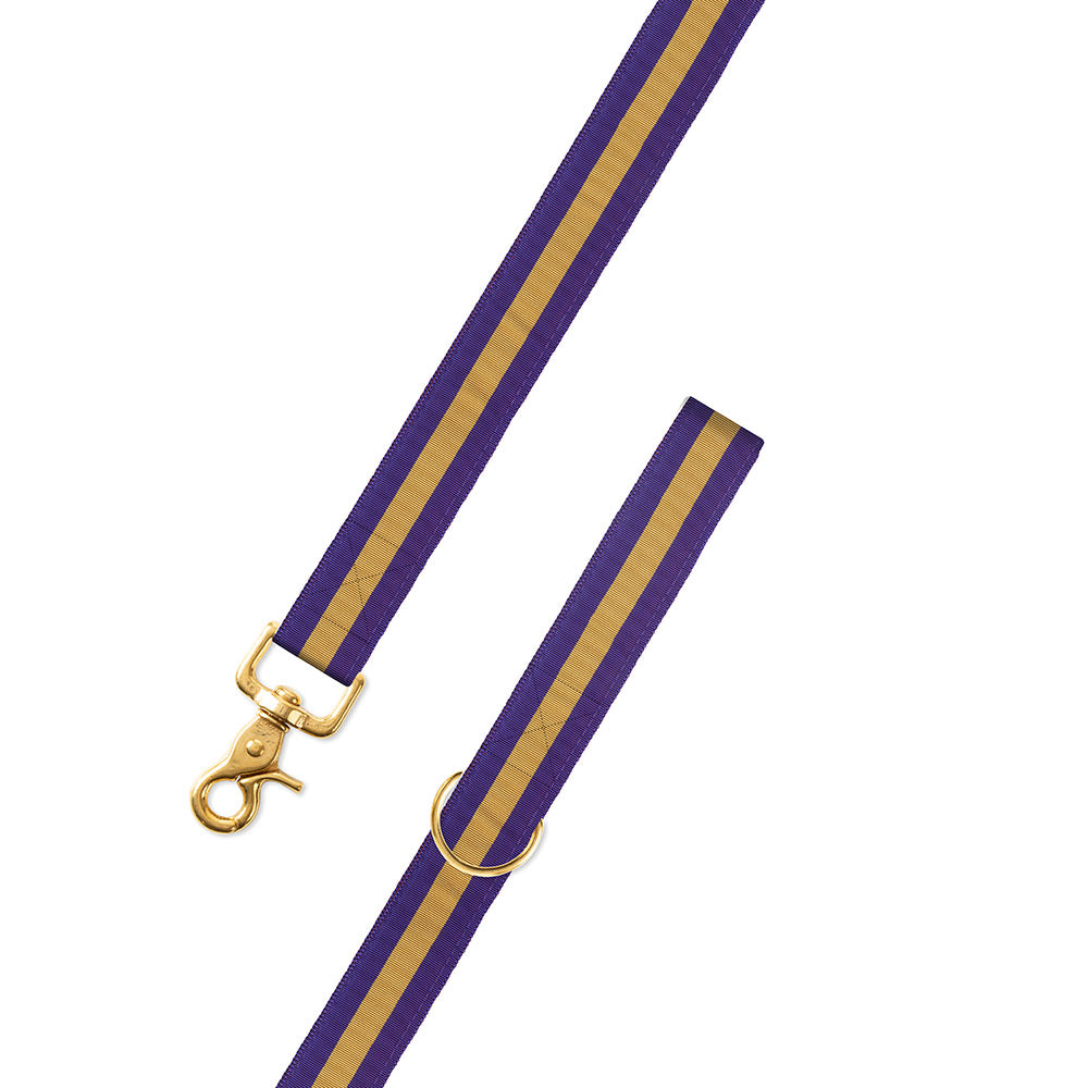 Purple & Gold Grosgrain Ribbon Dog Leash