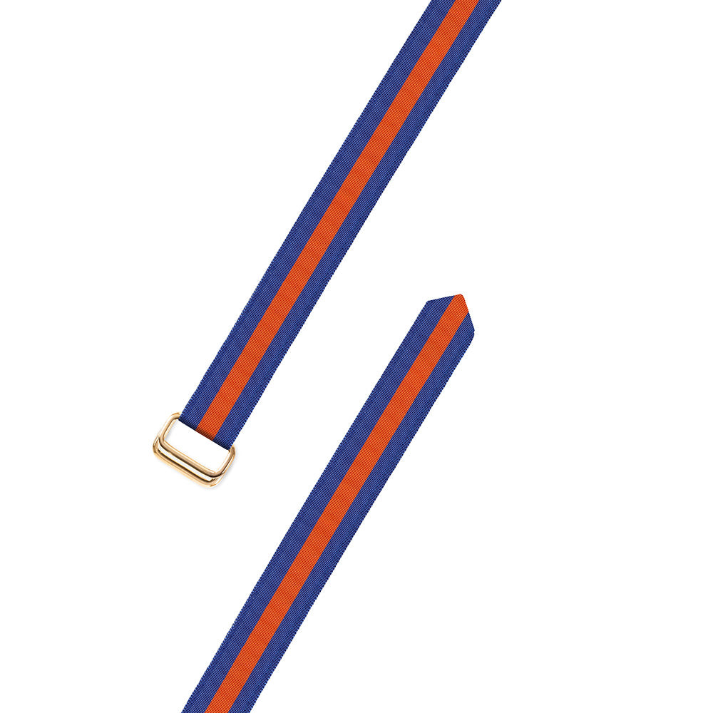Blue & Orange Grosgrain Ribbon D-Ring Belt