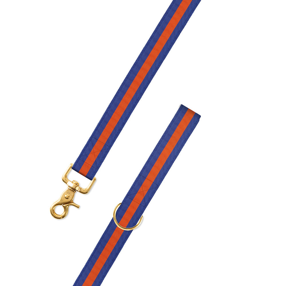 Blue & Orange Grosgrain Ribbon Dog Leash