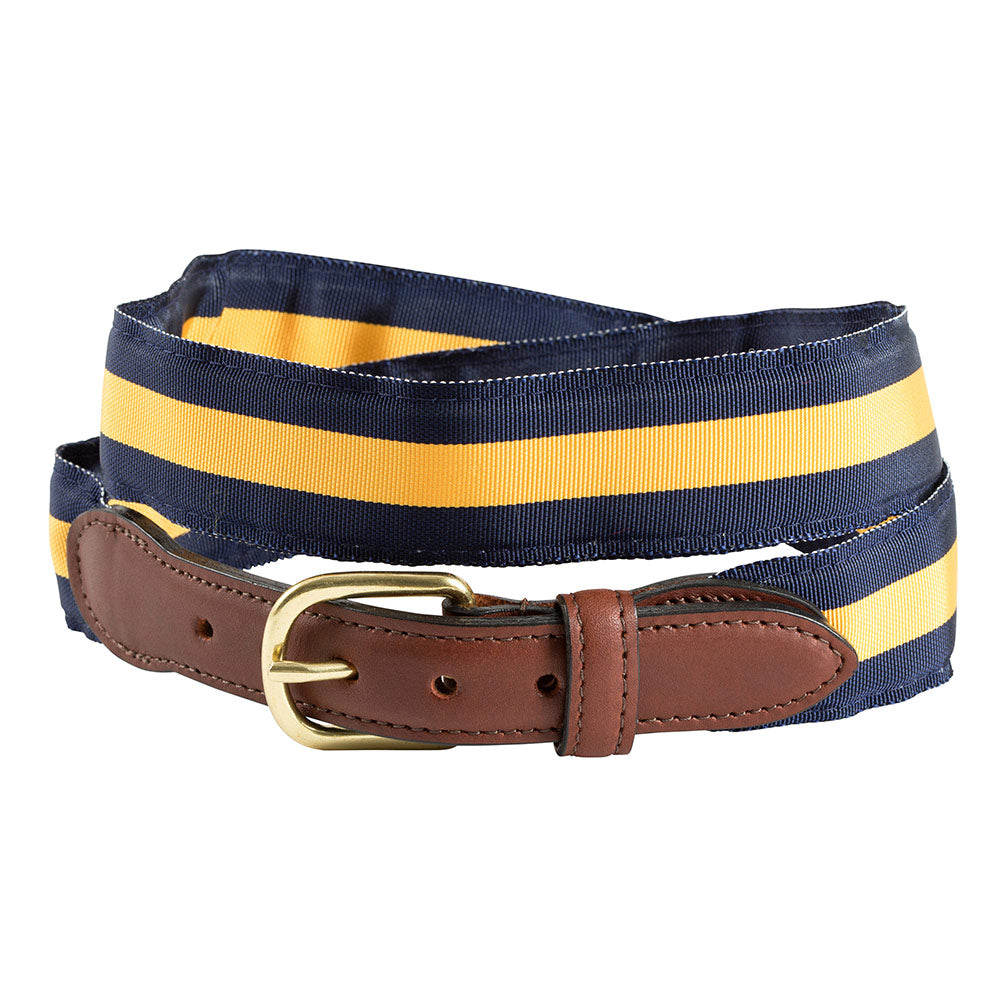Navy & Maize Yellow Grosgrain Ribbon Leather Tab Belt