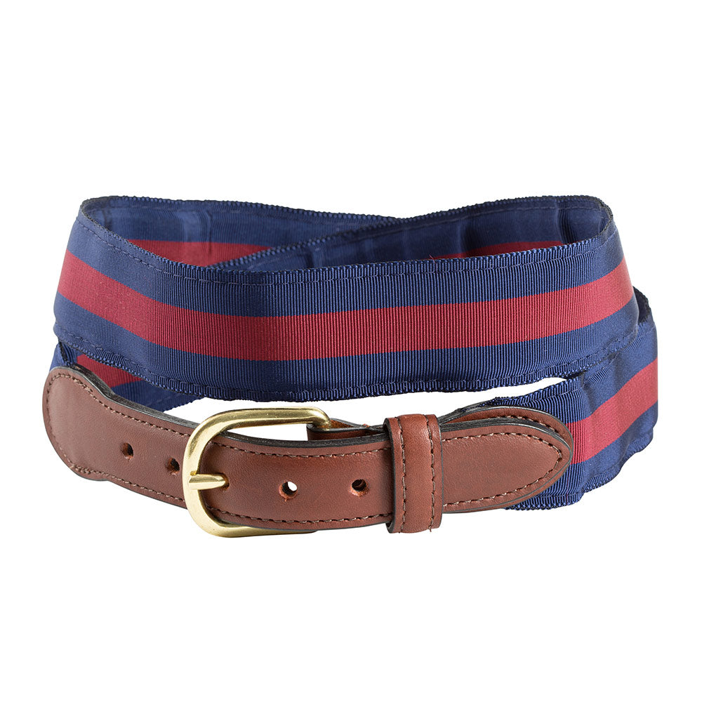 Navy & Burgundy Grosgrain Ribbon Children's Belt