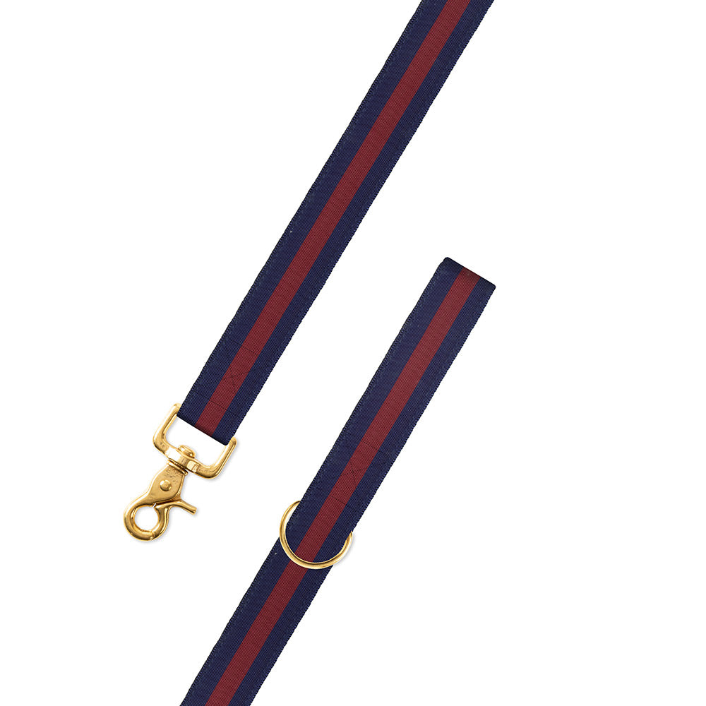 Navy & Burgundy Grosgrain Ribbon Dog Leash