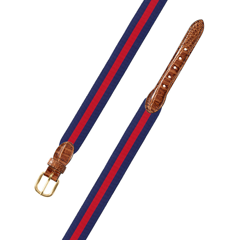 Red on Navy Grosgrain Ribbon Leather Tab Belt