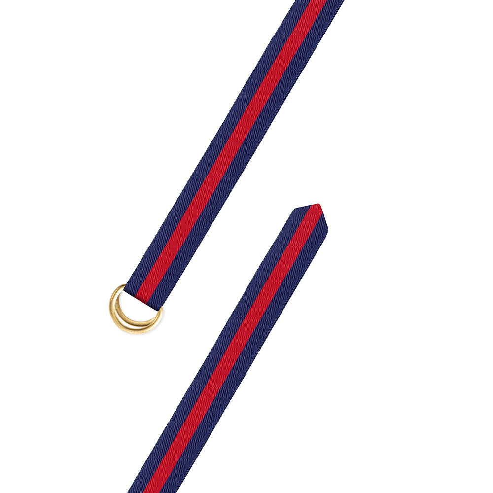 Red on Navy Grosgrain Ribbon D-Ring Belt