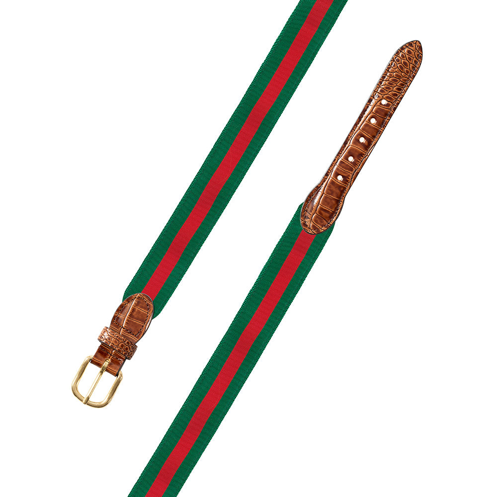 Forest Green & Red Grosgrain Ribbon Leather Tab Belt
