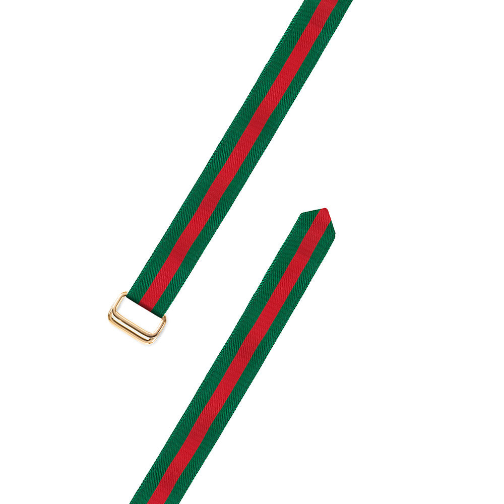 Forest Green & Red Grosgrain Ribbon D-Ring Belt