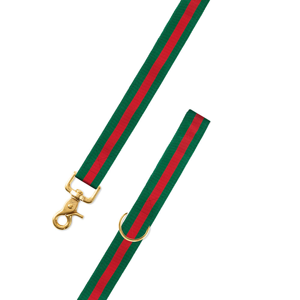 Forest Green & Red Grosgrain Ribbon Dog Leash