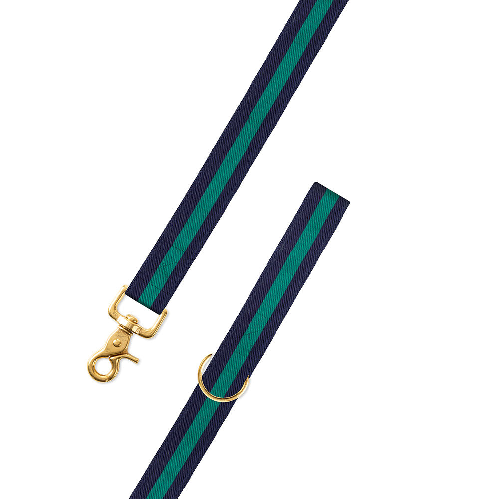Navy & Green Grosgrain Ribbon Dog Leash