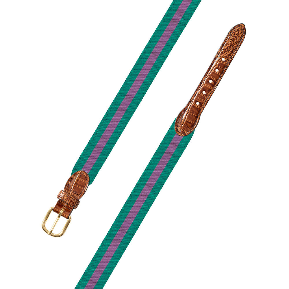 Green & Purple Grosgrain Ribbon Leather Tab Belt