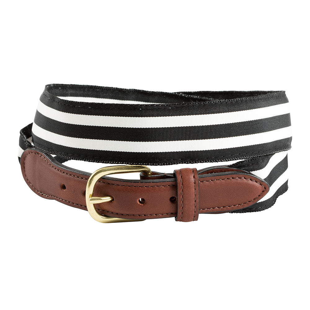 Black & White Grosgrain Ribbon Leather Tab Belt