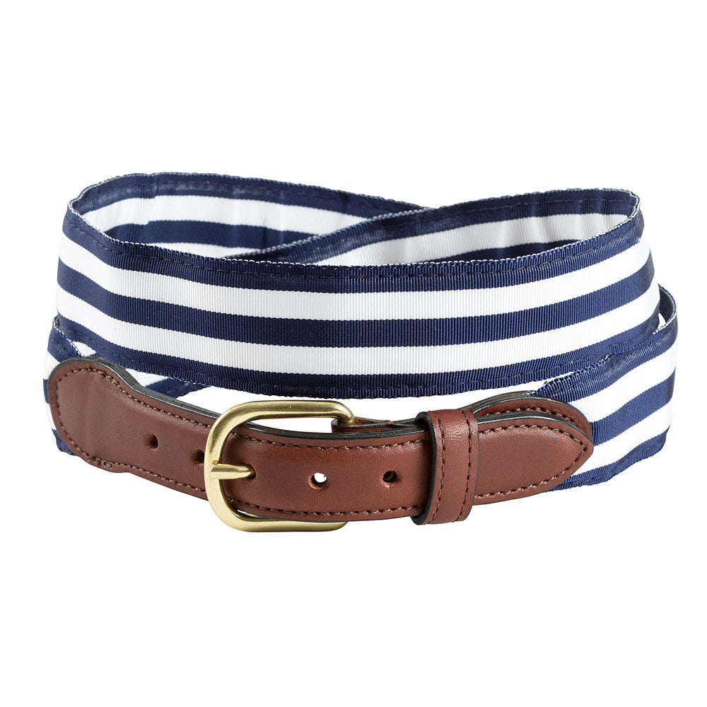 Navy & White Grosgrain Ribbon Leather Tab Belt