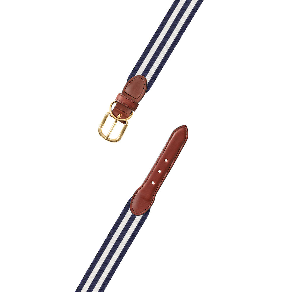 Navy & White Grosgrain Ribbon Dog Collar