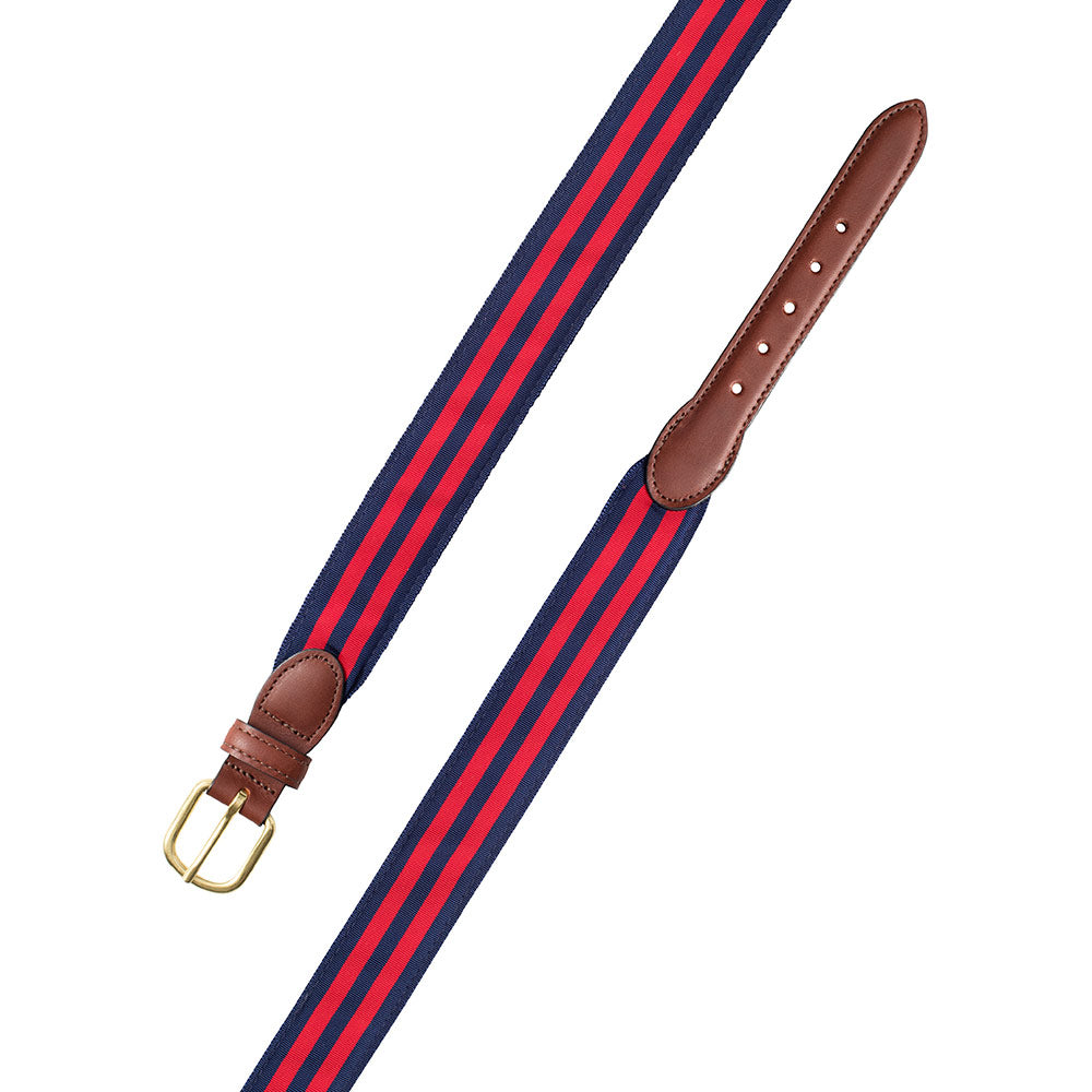 Navy & Red Grosgrain Ribbon Leather Tab Belt