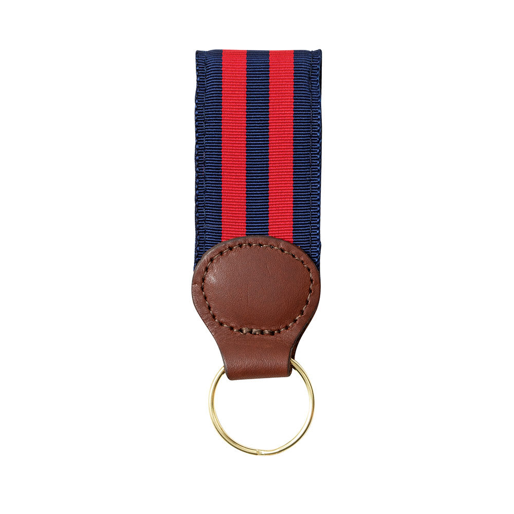Navy & Red Grosgrain Ribbon Key Fob
