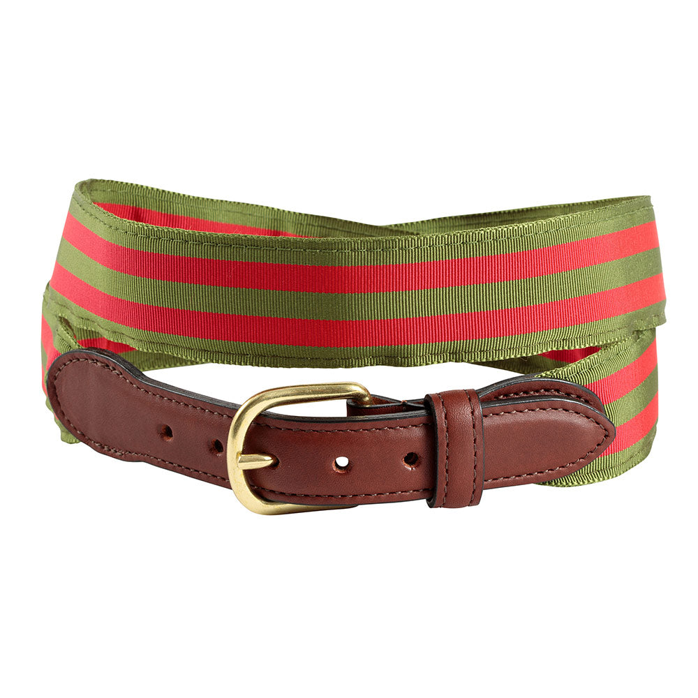 Olive & Red Grosgrain Ribbon Children's Belt