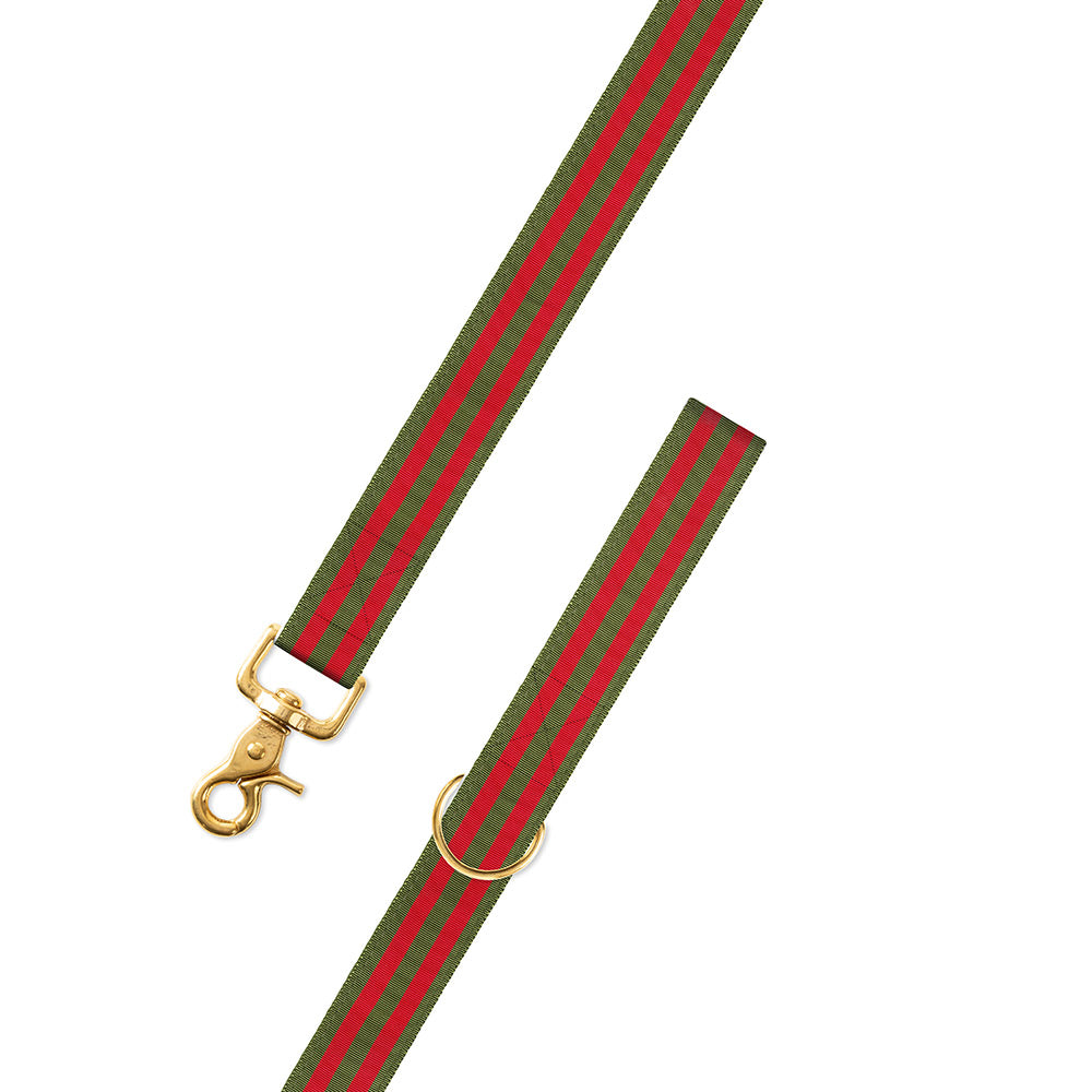 Olive & Red Grosgrain Ribbon Dog Leash