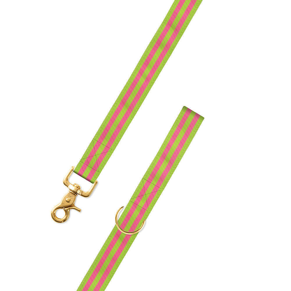 Grass Green & Pink Grosgrain Ribbon Dog Leash