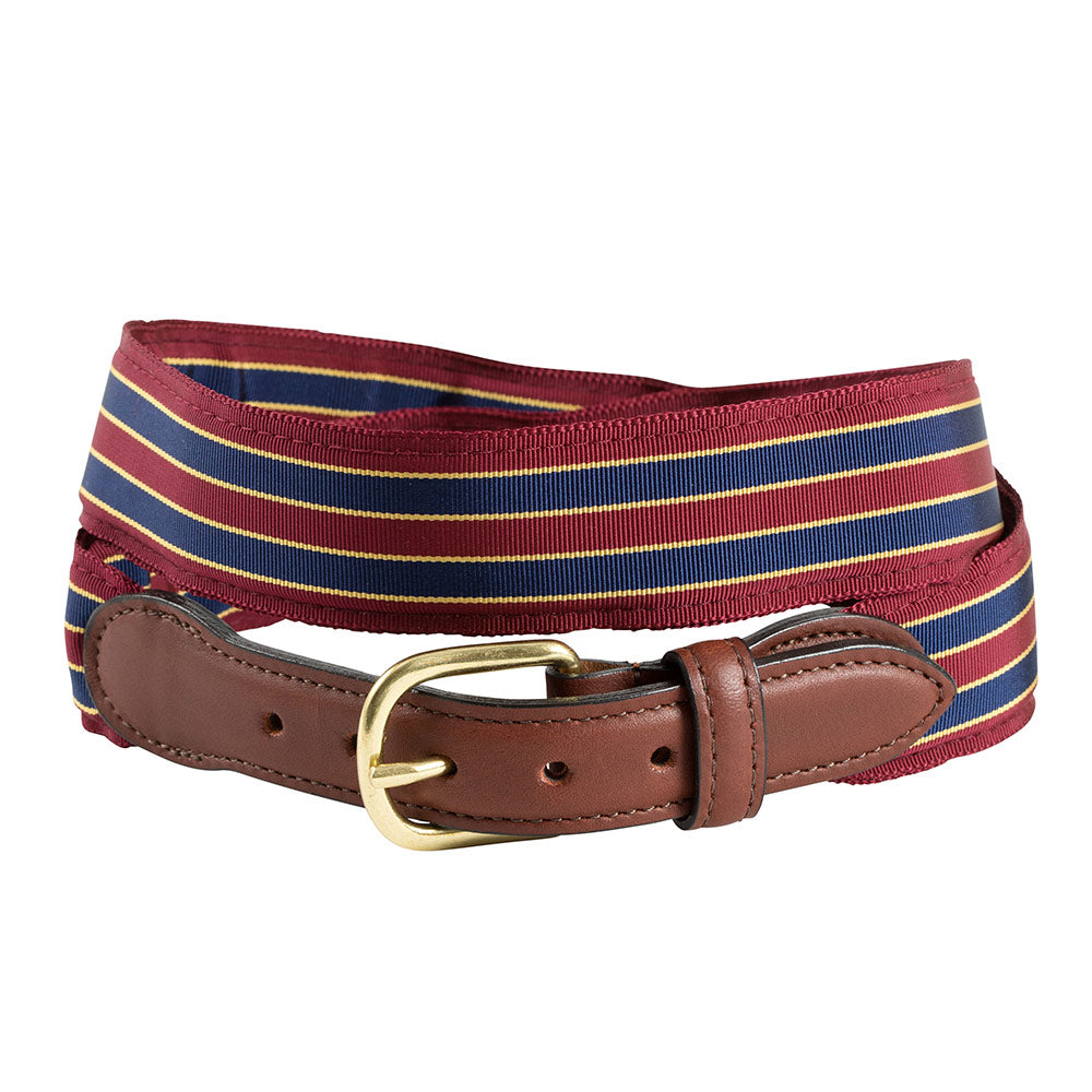 Brick, Navy & Gold Grosgrain Ribbon Children's Belt