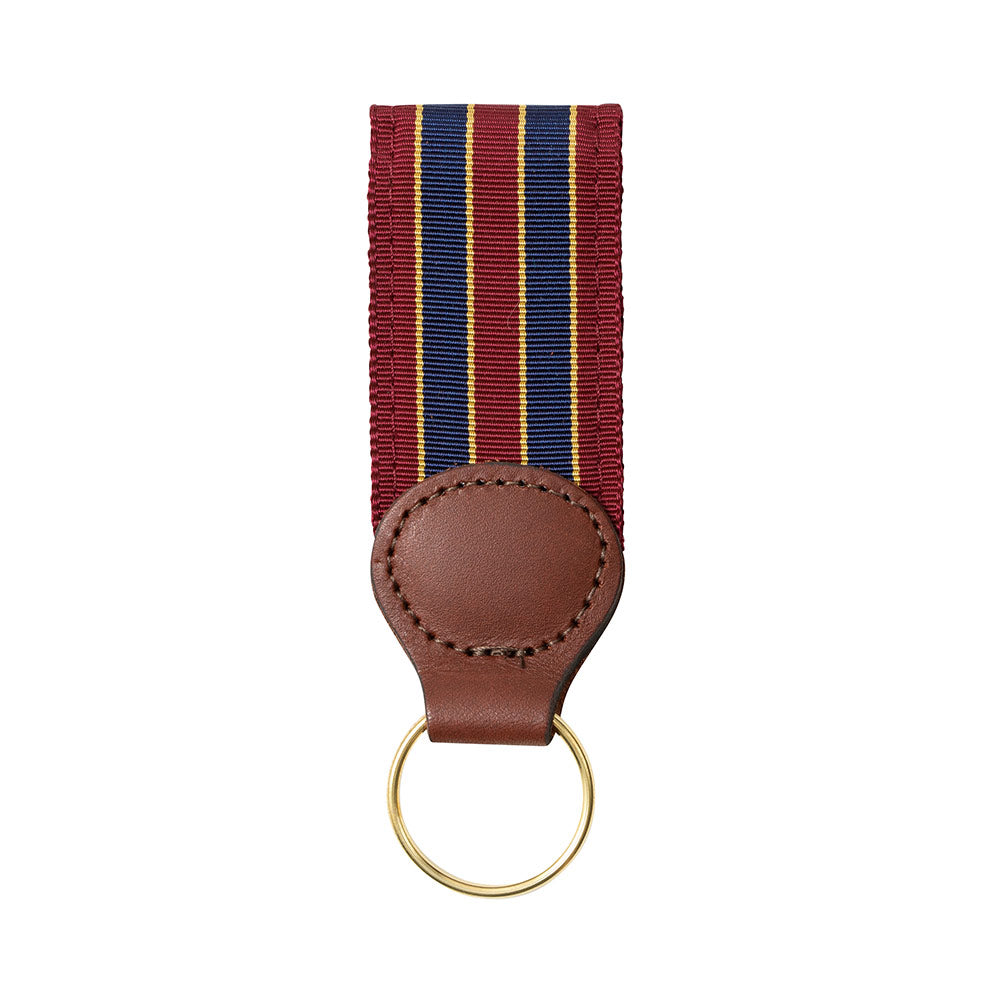 Brick, Navy & Gold Grosgrain Ribbon Key Fob