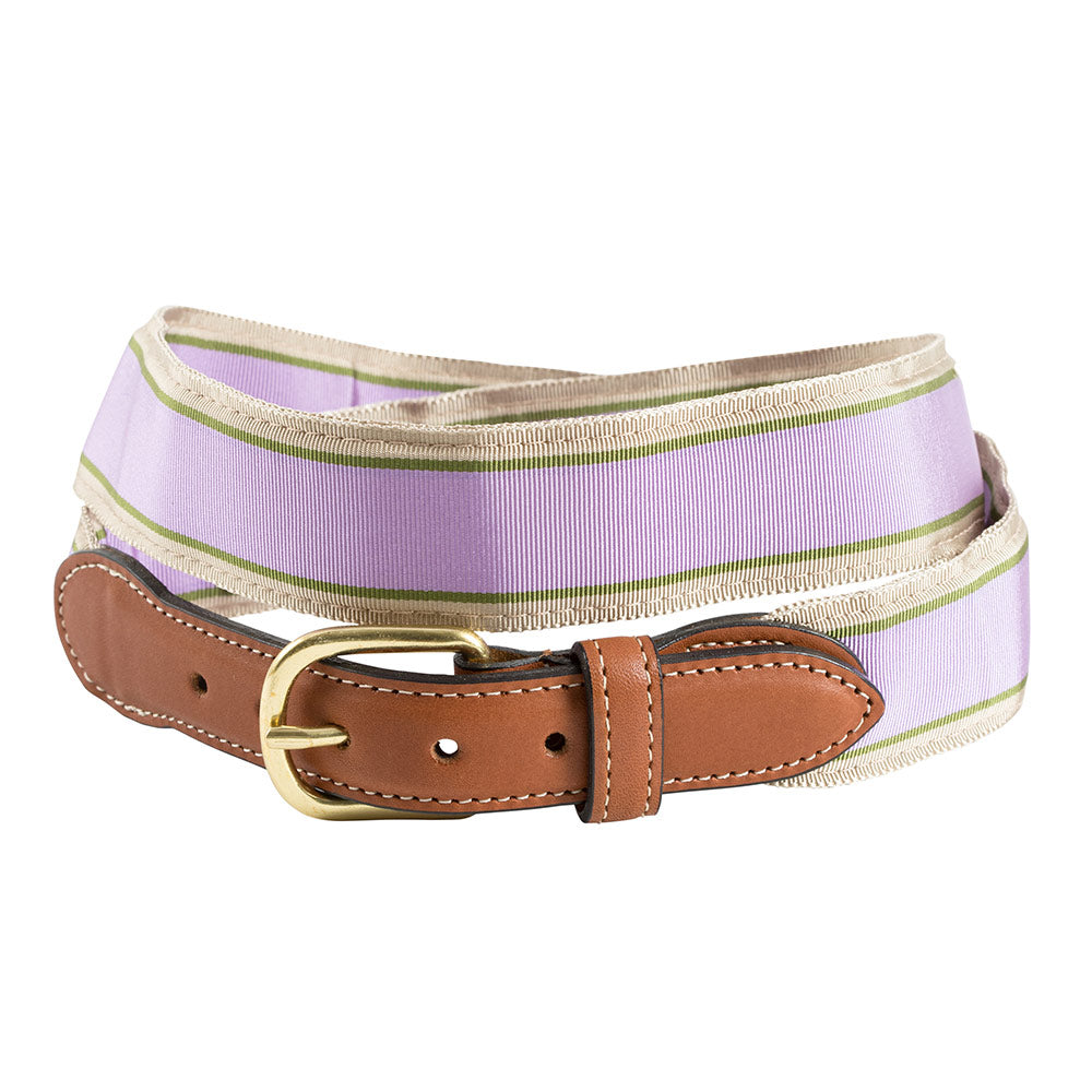 Lavender, Olive & Tan Grosgrain Ribbon Leather Tab Belt