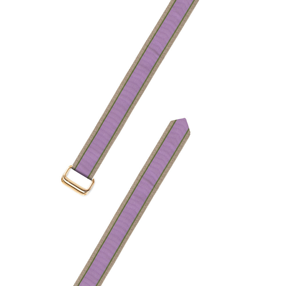 Lavender, Olive & Tan Grosgrain Ribbon D-Ring Belt