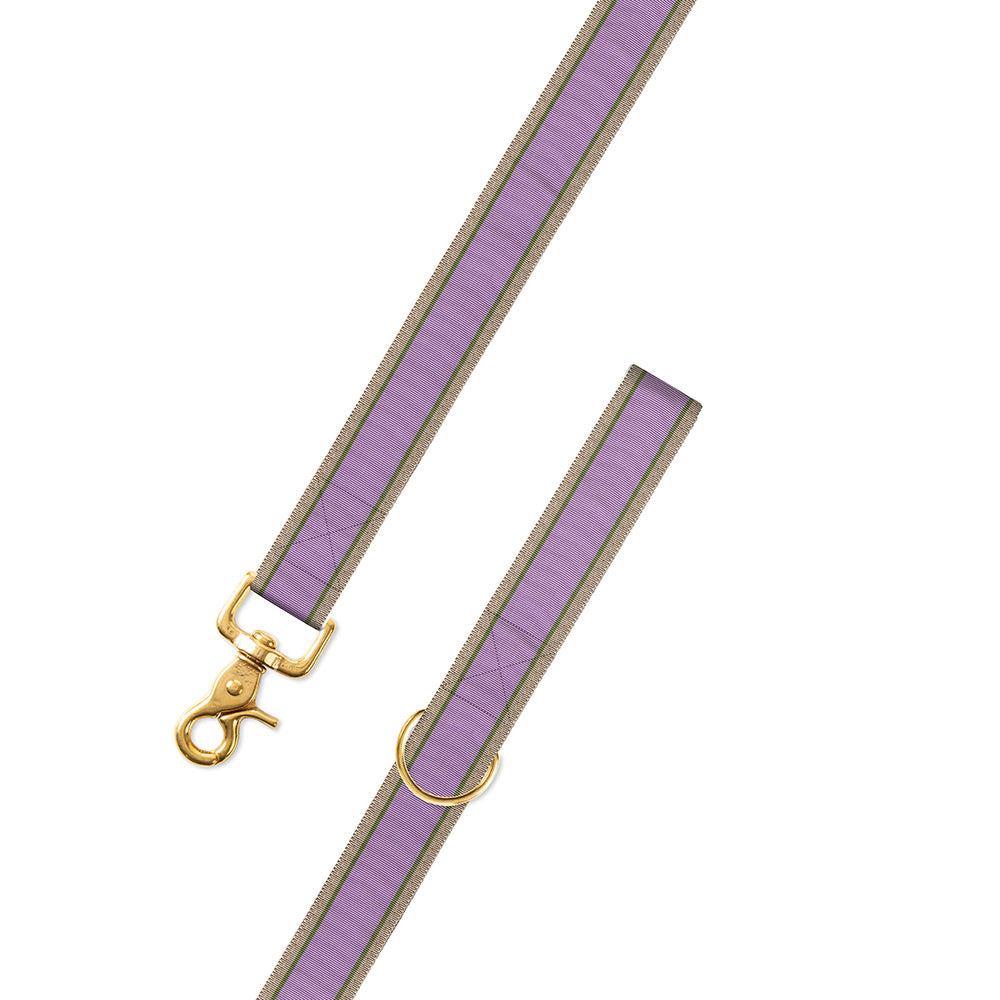 Lavender, Olive & Tan Grosgrain Ribbon Dog Leash