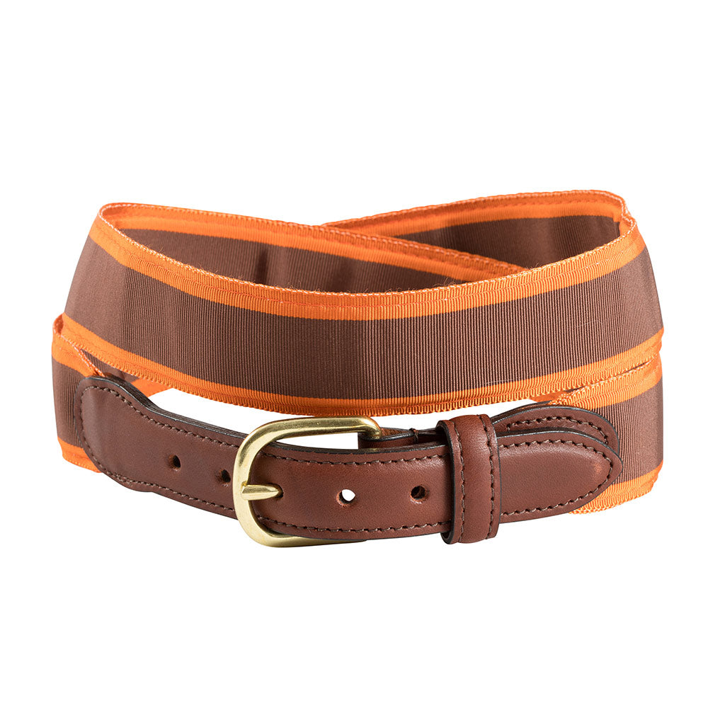 Brown & Orange Grosgrain Ribbon Leather Tab Belt