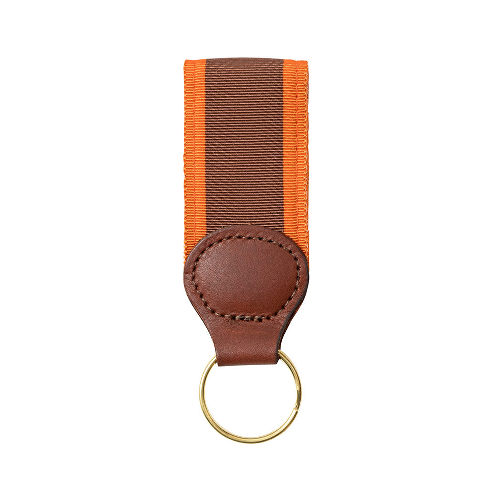 Brown & Orange Grosgrain Ribbon Key Fob