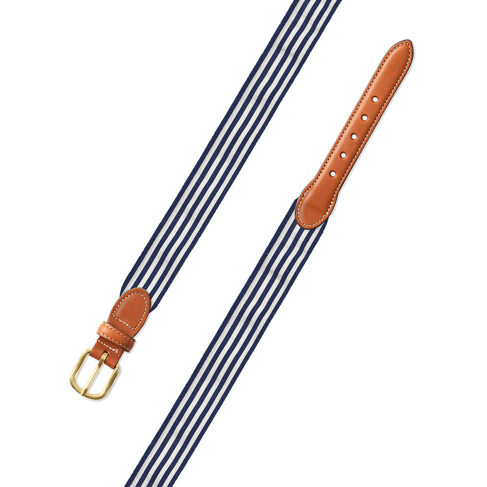 Thin Stripe Navy & White Grosgrain Ribbon Leather Tab Belt