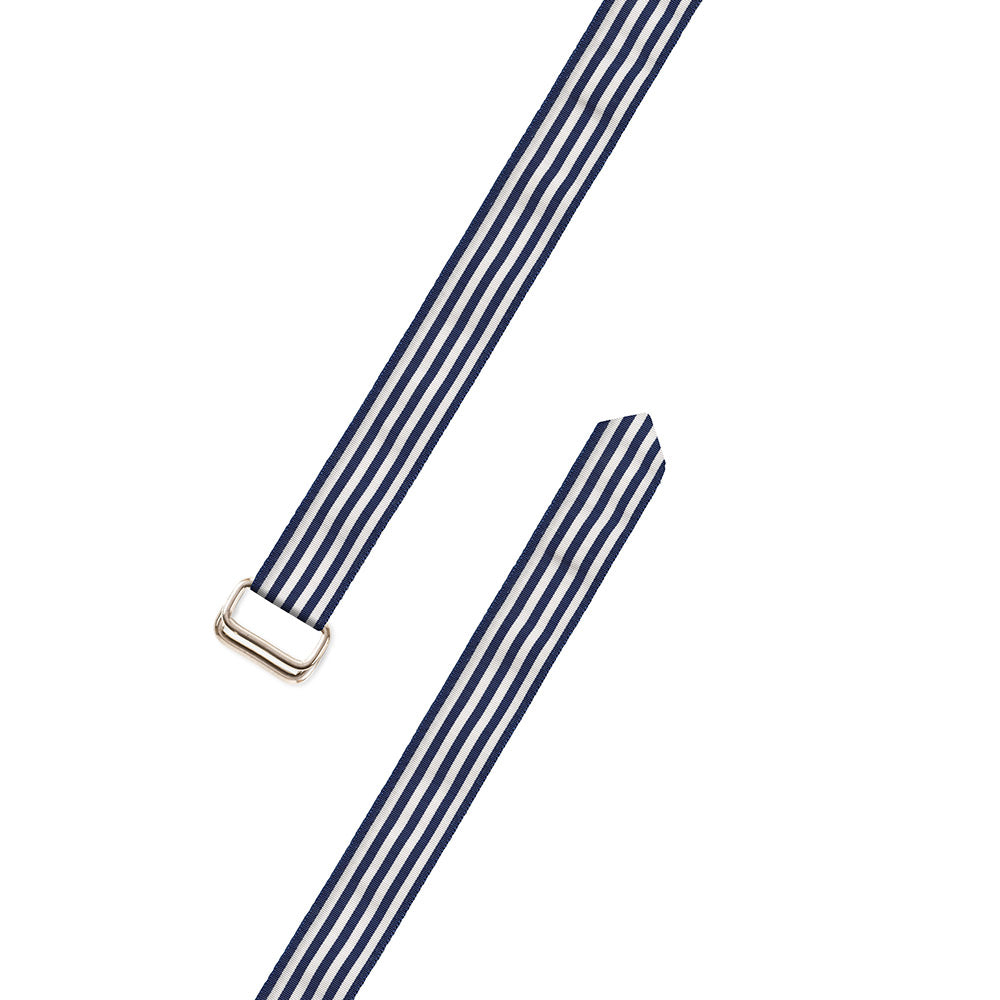 Thin Stripe Navy & White Grosgrain Ribbon D-Ring Belt