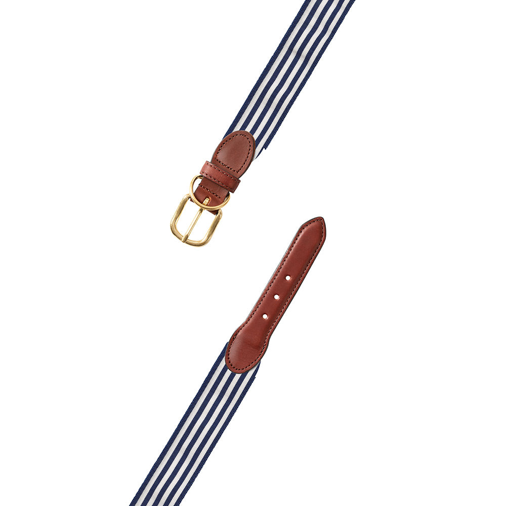 Thin Stripe Navy & White Grosgrain Ribbon Dog Collar