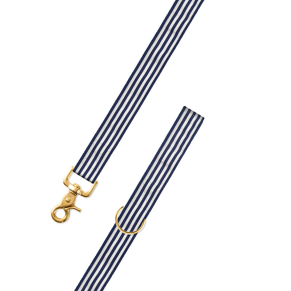 Thin Stripe Navy & White Grosgrain Ribbon Dog Leash