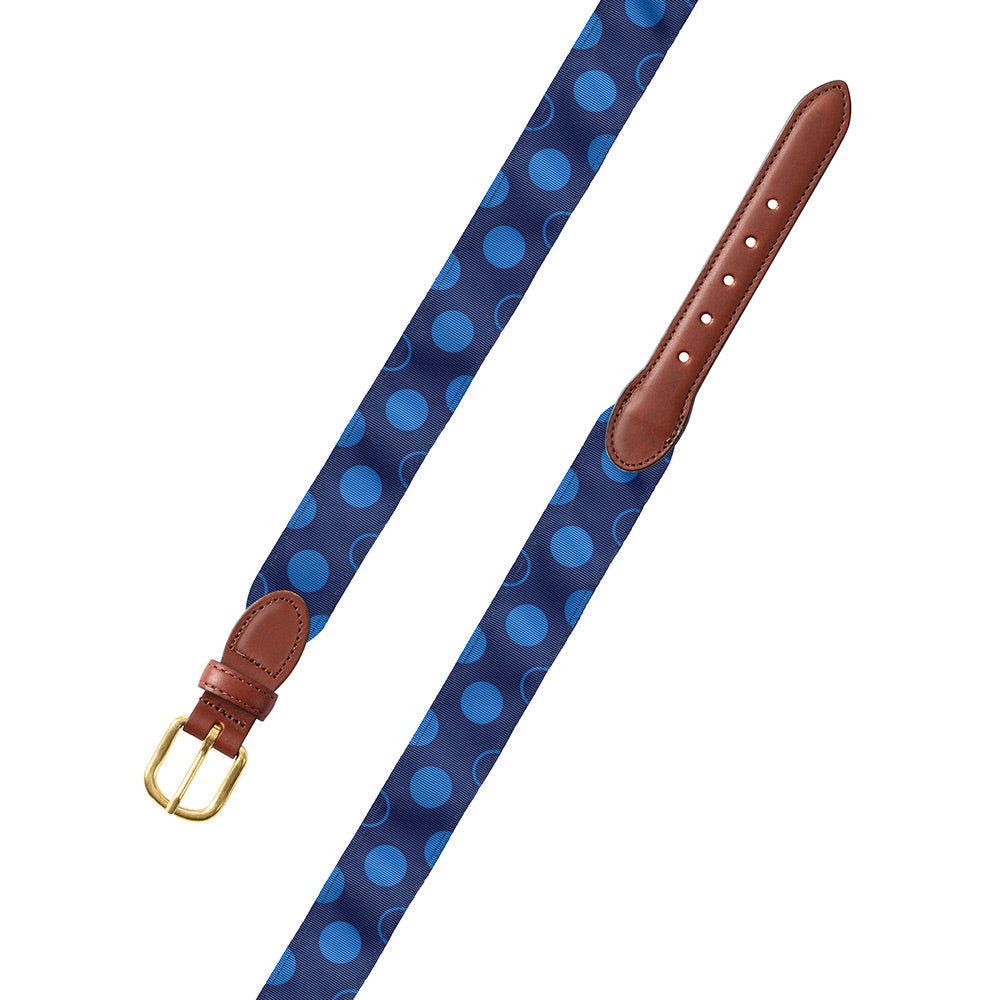 Dots on Blue Grosgrain Ribbon Leather Tab Belt