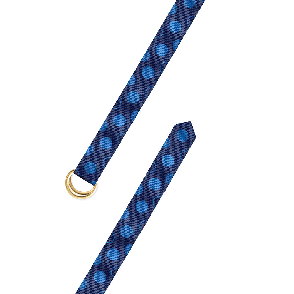Dots on Blue Grosgrain Ribbon D-Ring Belt