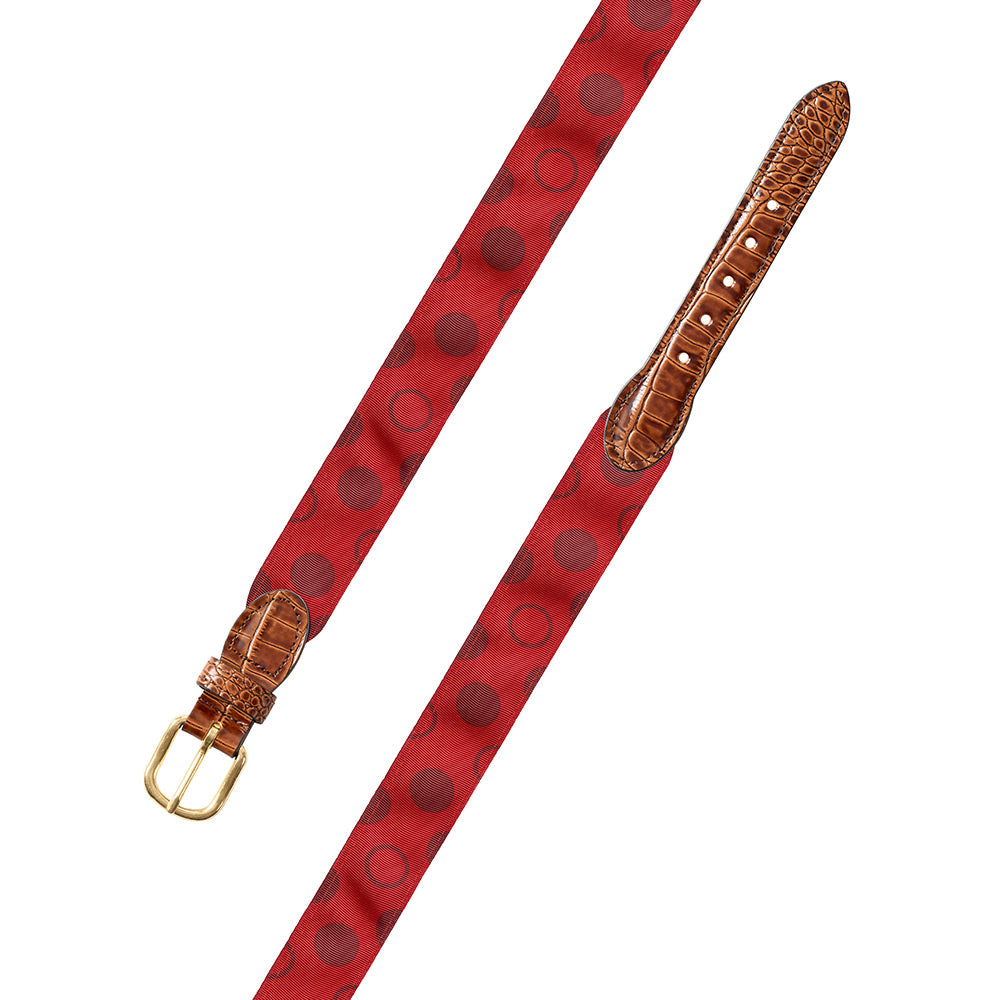 Dots on Red Grosgrain Ribbon Leather Tab Belt
