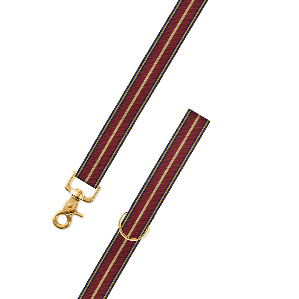 Navy, Burgundy & Gold Grosgrain Ribbon Dog Leash