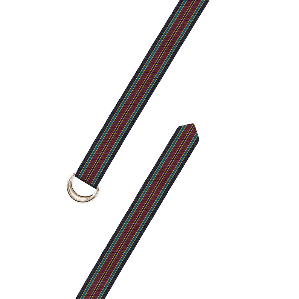 Navy, Burgundy & Green Grosgrain Ribbon D-Ring Belt