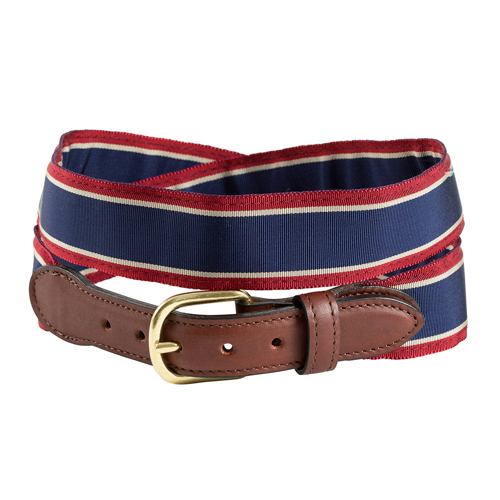 Navy, Tan & Burgundy Grosgrain Ribbon Children's Belt