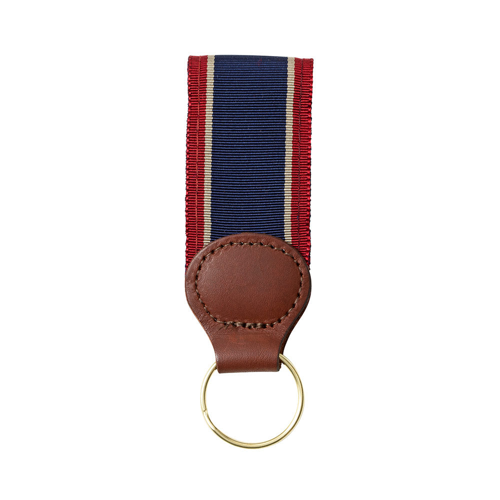 Navy, Tan & Burgundy Grosgrain Ribbon Key Fob