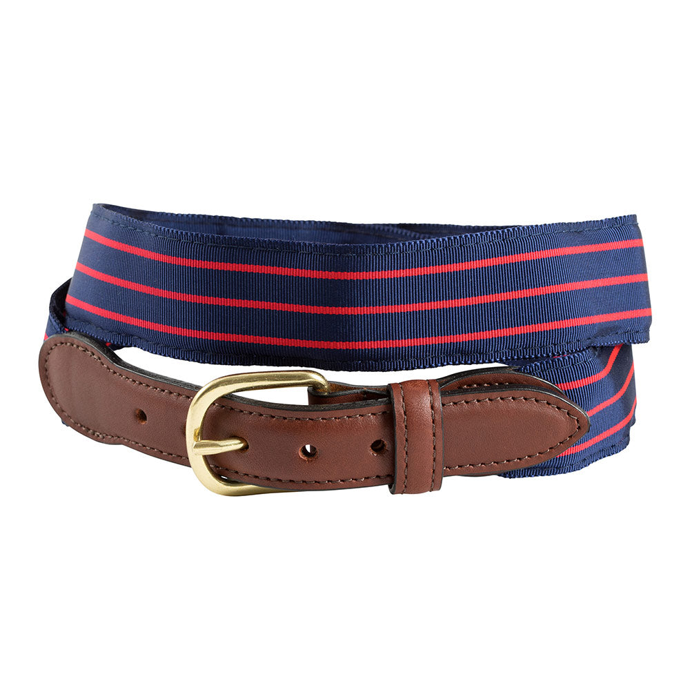 Navy & Thin Red Stripe Grosgrain Ribbon Children's Belt
